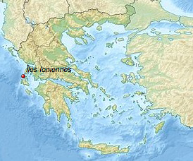 Carte de la Grèce : Iles Ioniennes